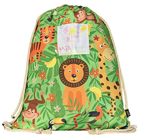 HECKBO® Mädchen Kinder Jungen Turnbeutel inkl. Sichtfenster für Bilder & Fotos - Dschungel -...