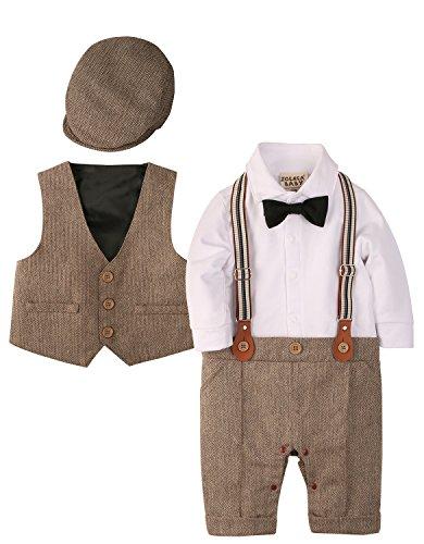 Zoerea 3tlg Baby Jungen Bekleidungssets Strampler + Weste + Hut Fliege Krawatte Anzug Gentleman Festliche...