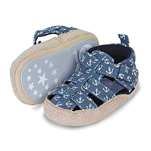 Sterntaler Unisex-Baby-Sandalen, Klettverschluss, Rutschfeste Sohle, Farbe: Marine, Größe: 19/20, Art.Nr.:...