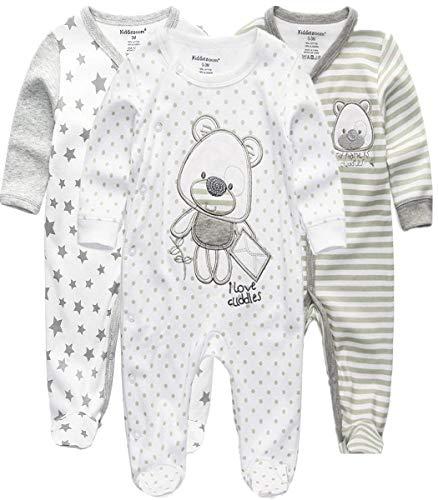 Kiddiezoom Baby Jungen Pyjama, eng-anliegend mit integrierten Schuhen, langarm, Baumwolle Gr. 80, Grauer Bär...