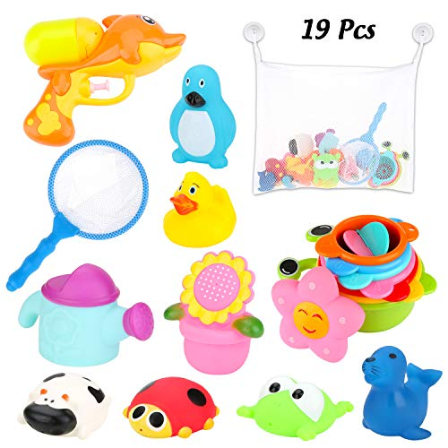 BBLIKE Badespielzeug, Badewannenspielzeug-Aufbewahrungstasche, Wasserpistole, Fischernetz, Stapelbecher,...