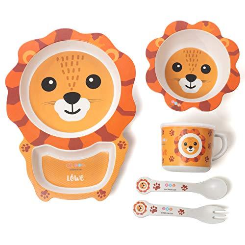 Löwe Kinder-Geschirr-Set Bambus, 5-teilig Kinderbesteck & Tiermotiv, BPA-frei, Kinderteller, Suppenschale,...