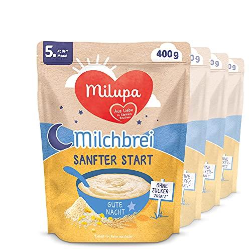 Milupa Milchbrei Sanfter Start, Babybrei ohne Zuckerzusatz, Babynahrung nach dem 4. Monat (4 x 400 g)