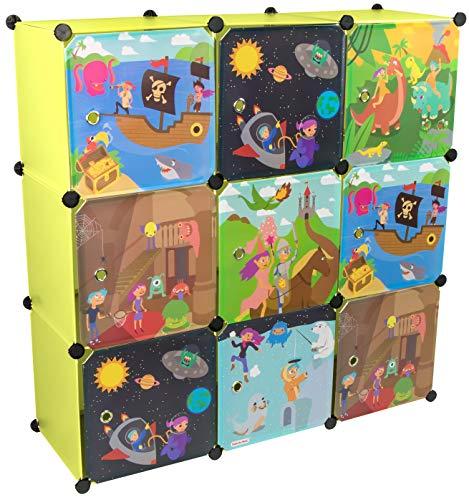 KEKSKRONE Großer Kinderschrank Bunte Motiv-Türen - DIY Stecksystem - 9 Module je 37 x 37 x 37 cm, Grün  ...