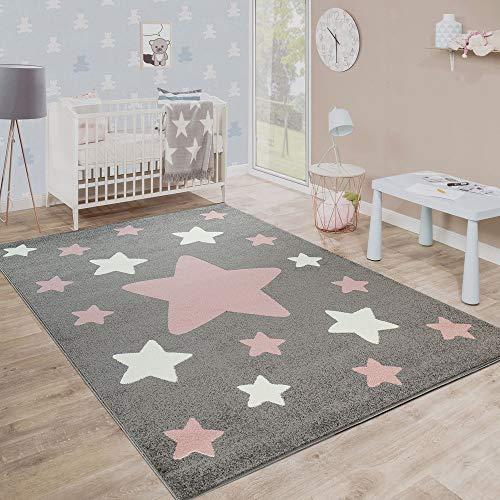 Paco Home Kinderteppich, Moderner Kinderzimmer Teppich in Pastell Farben m.Stern Motiven, Grösse:160x220 cm,...