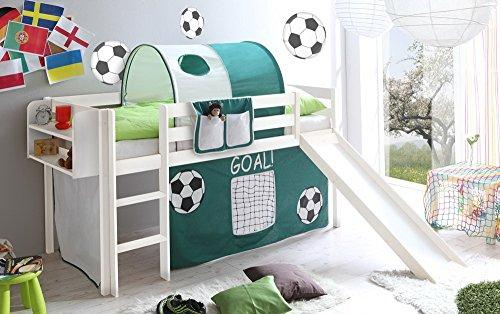 lifestyle4living Hochbett für Kinder in grün-Weiss mit Rutsche, Vorhang im Fussball-Tor Motiv   Spielbett...