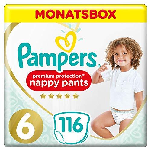 Pampers Größe 6 Premium Protection Baby Windeln, 116 Stück, MONATSBOX, Weichster Komfort Und Schutz (15+...