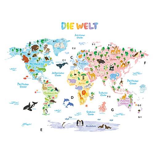 DECOWALL DLT-1615DE Weltkarte Tierweltkarte Tiere Wandtattoo Wandsticker Wandaufkleber Wanddeko für...