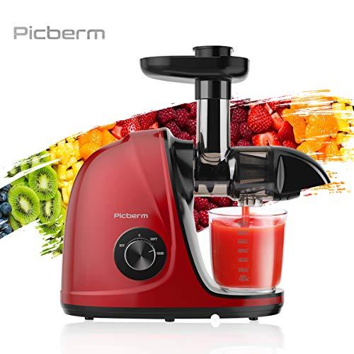 Entsafter,Picberm Slow Juicer BPA-frei mit 2 Geschwindigkeitsmodi Entsafter Gemüse und Obst Ruhiger Motor und...