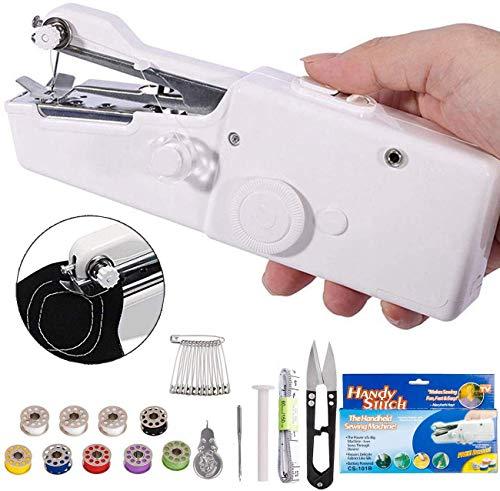 DUTISON Nähmaschine Tragbar Handnähmaschine Schnellstichwerkzeug für Kleidung Stoff, Vorhang, Schal, DIY