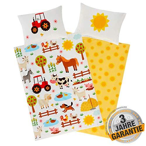 Aminata Kids Kinderbettwäsche Bauernhof-Tiere 100 x 135 cm + 40 x 60 cm, Baumwolle mit Reißverschluss, unser...