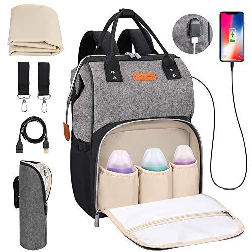 Baby Wickelrucksack Wickeltasche mit Wickelunterlage, Multifunktional Große Kapazität Babytasche Reisetasche...