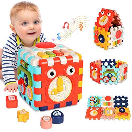 ATCRINICT 6-in-1 Aktivitätswürfel Babyspielzeug für 6-18 Monate Alte Kinder, Musikspielzeug für Kleinkind,...