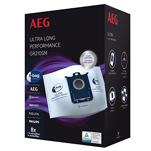 AEG GR210SM s-bag Ultra Long Performance Staubsaugerbeutel MegaPack (8 XXL Synthetik Staubbeutel, 1...
