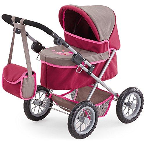 Bayer Design 1307800 Puppenwagen Trendy, höhenverstellbar, zusammenklappbar, Motiv: Prinzessin, grau/pink