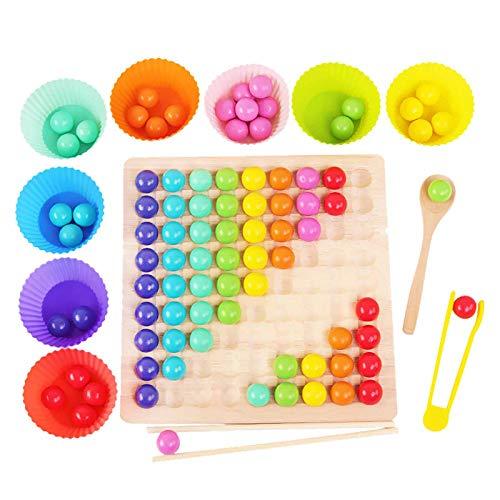 Holz Clip Beads Brettspiel, Montessori Pädagogisches Holzspielzeug, Clip Perlen Spiel Puzzle Board,...