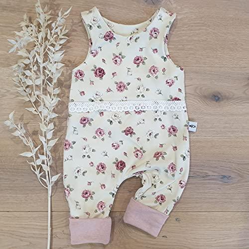 Einteiliger Strampler - Cremegelb Blumen Vintage - Rose Melange - mit Spitze Baby Mädchen