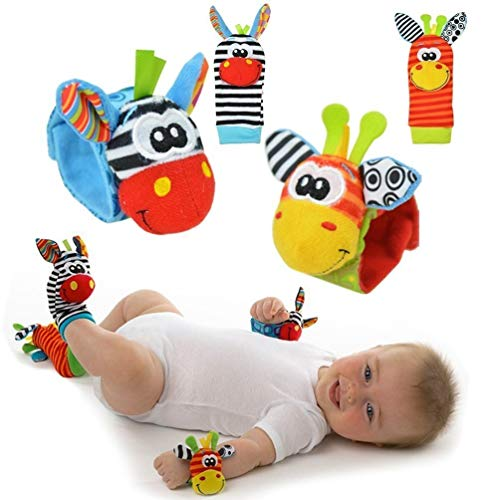 Baby Rattle Toy – Cute Animal Infant 4 (2 Waist and Socks) Soft Wrist Strap Rattles & Foot Finder Set Soft...