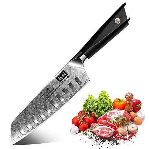 SHAN ZU Kochmesser, Santokumesser Küchenmesser 18cm Damaskus AUS-10 Edelstahl Scharfe Messerklinge...