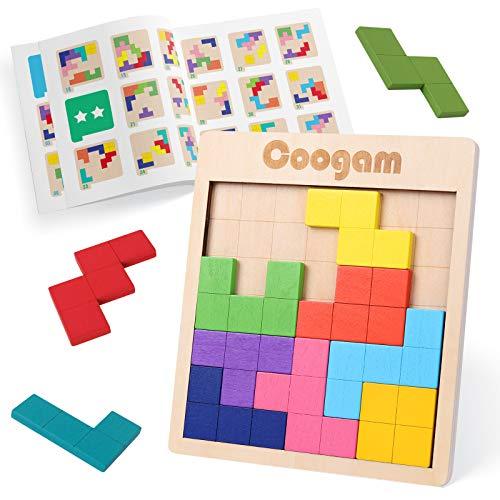 Coogam Holz Tangram Puzzle Muster blockiert Brain Teasers Spiel mit 60 Herausforderungen, 3D russische...