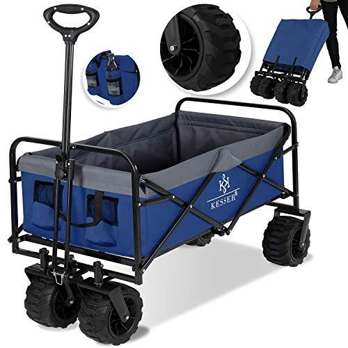 KESSER® Bollerwagen faltbar mit Breite Reifen Handwagen Transportkarre Gerätewagen | inkl. 2 Netztaschen |...