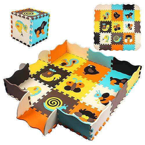 Swonuk Kinder Puzzlematte 25 Teile mit Tieren Puzzle incl Rand Schaumstoff Bodenpuzzle, Spielmatte...