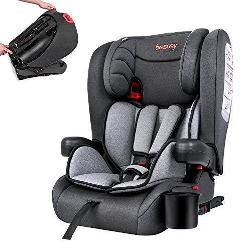 Besrey Kindersitz Kinderautositz mit Isofix - Kinder Autositz Gruppe 1/2/3 - Reise Tragbar und Faltbarer - Mit...