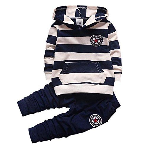 Shiningup Baby-Trainingsanzug-Jungen-Kleidungs-gesetztes Outfit-langes mit Kapuze gestreiftes T-Shirt und...
