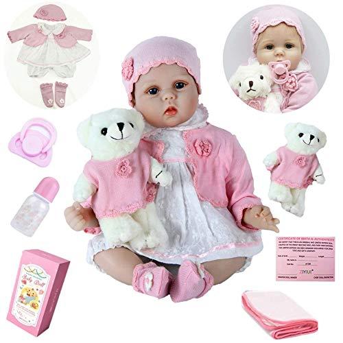 ZIYIUI Reborn BabyPuppe 22 Zoll 55cm Realistisch Baby Puppe lebensecht Weiches Vinylsilikon Reborn Baby...