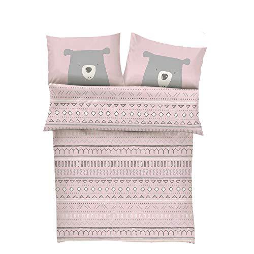 s.Oliver Bettwäsche 100x135 Mädchen Bär - Kinderbettwäsche rosa 100% Baumwolle hochwertiger Makosatin 2...