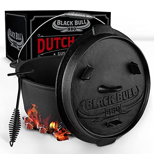 Black Bull BBQ Dutch Oven Set [9L] – Eingebrannter Feuertopf aus Gusseisen mit Füßen & Deckel – mit...