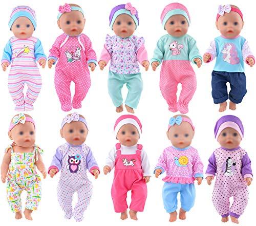 ebuddy 10 Sätze Zu den Accessoires für süße Puppenbekleidung gehören Hüte und Stirnbänder für 43cm /...