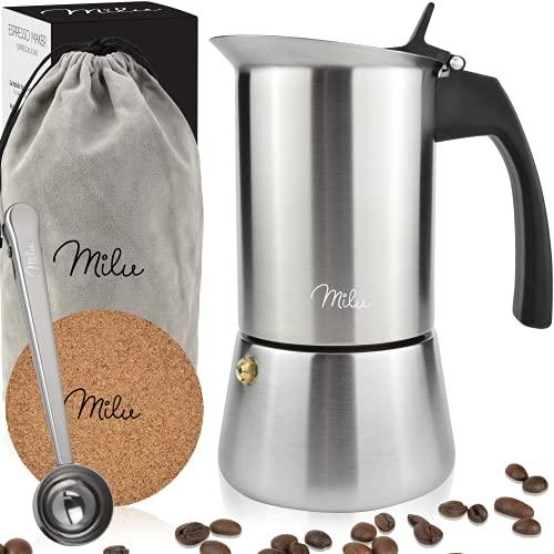 Milu Espressokocher (2 Cup No Induktion) | 2, 4, 6, 9 Tassen| Edelstahl Mokkakanne, Espressokanne, Espresso...