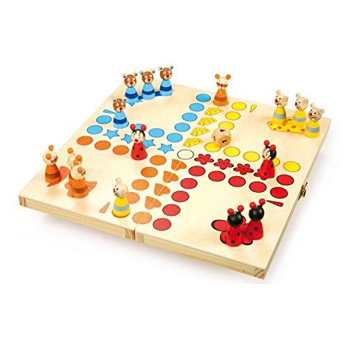 small foot 7358 Ludo 'Tiere' aus Holz, Gesellschaftsspiel für Groß und Klein, mit Tierchen-Spielfiguren, ab...