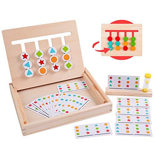 Rolimate Holzpuzzle Vorschule Lernspielzeug, Montessori Spielzeug Sortieren Puzzle, 4 Farbform-Matching-Spiel...