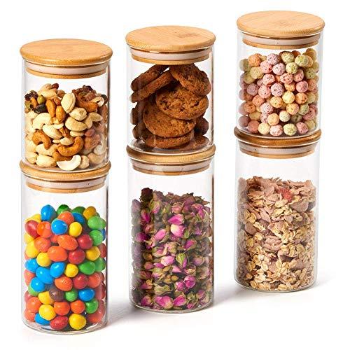 EZOWare 6er Set Glas Vorratsdosen, Vorratsgläser aus Borosilikatglas Küche Lebensmittel Lagerung Behälter...