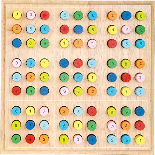 small foot 2019496 2489 Sudoku bunt für Kinder aus Holz, Gesellschaftsspiel ab 6 Jahre, One Colour