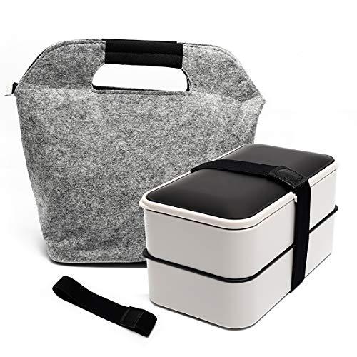 Fun Life Bento Box Lunchbox Brotdose Brotbüchse Zwei Fächern mit Tasche, 3-Teiligem robusten Besteckset &...