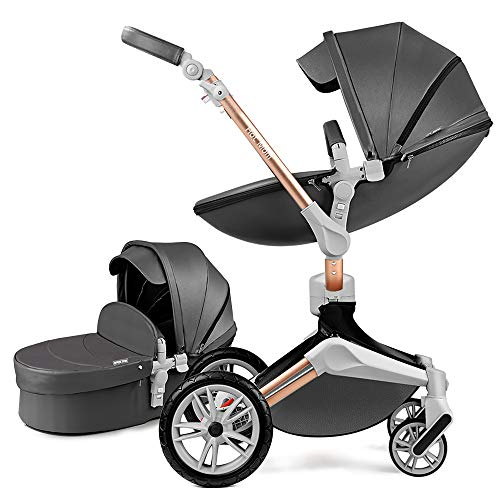 Hot Mom Kombikinderwagen 2 in 1 Kinderwagen 2020 Neues Design 360 Derhbar (Dark Grey)