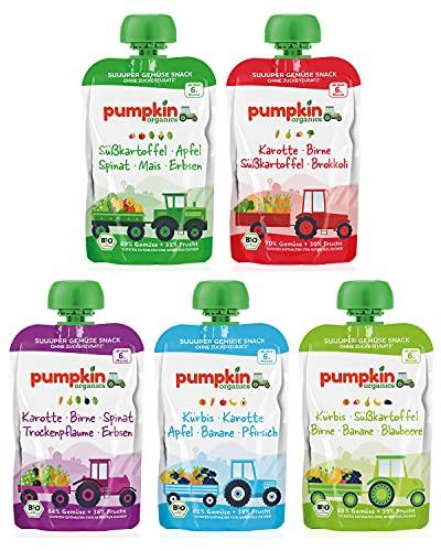 Bio Gemüse Quetschies - Pumpkin Organics ERSTE LIEBE (48 x 100g) + 2 Löffelaufsätze - Snacks für Babys ab...