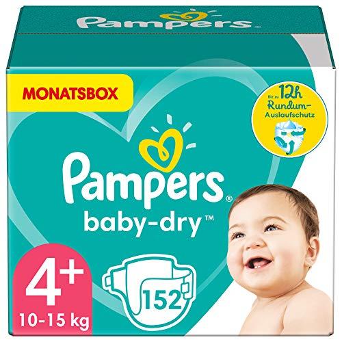 Pampers Windeln Größe 4+ (10-15kg) Baby Dry, 152 Stück, MONATSBOX, Bis Zu 12Stunden Rundum-Auslaufschutz