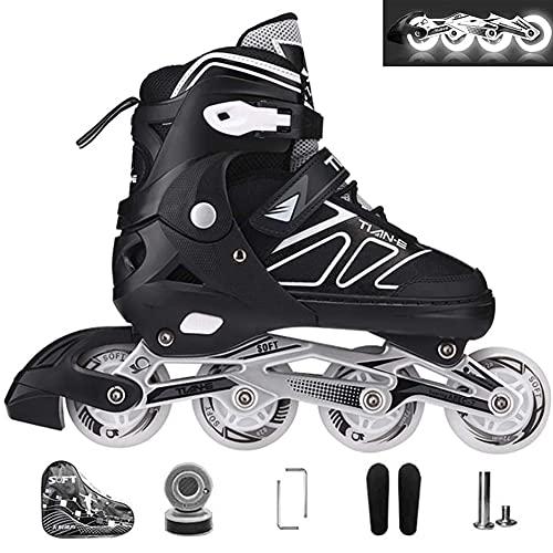 XIUWOUG Inline Skates Für Kinder, Vorderrad LED Blinkt Schlittschuhe, Einstellbare Größe 30–41, ABEC-7...