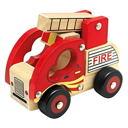 Bino Holzauto Feuerwehr Holzspielzeug Feuerwehrauto Spielzeug für Kinder ab 12 Monate (ausklappbare Leiter,...
