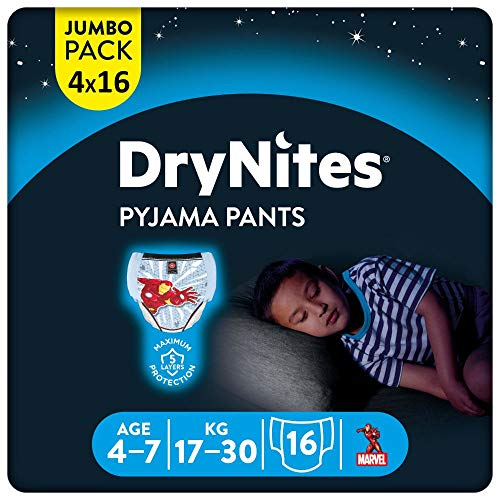 DryNites saugfähige Nachtwindeln bei Bettnässen, Für Jungen 4-7 Jahre (17-30 kg), 64 Stück, Jumbo...