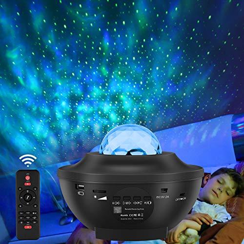 LED Sternenhimmel Projektor Lampe, Starry Music Projector mit Fernbedienung, Bluetooth Lautsprecher,...