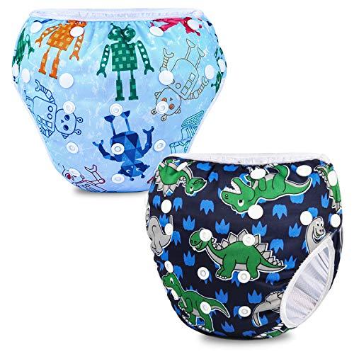 Phogary Schwimmwindeln (2er-Pack), wiederverwendbare Baby-Schwimmwindel für Babys von 0 bis 3 Jahren (Gewicht...