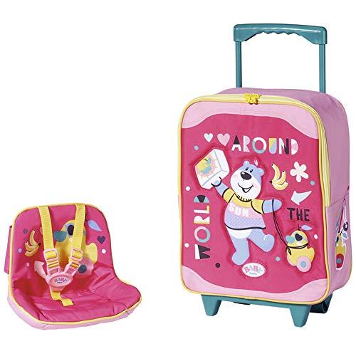 Zapf Creation 828441 BABY born Holiday Trolley mit Puppensitz Puppenzubehör, pink/bunt