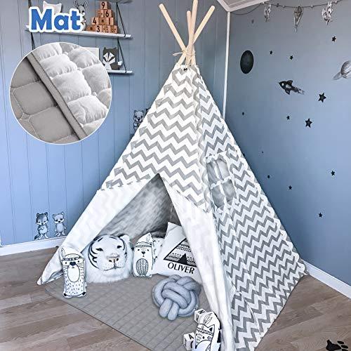 Tiny Land Tipi Spielzelt für Kinder Kinderzimmer mit Gepolsterter Decke- Drinnen Baumwolle Segeltuch...
