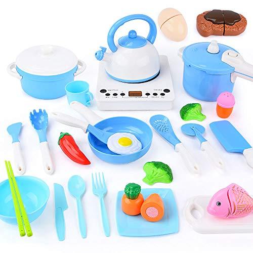 Sotodik 29 Stück Kinderküche Kochgeschirr Küchenspielzeug Zubehör mit Kochgeschirr Töpfe und Pfannen...