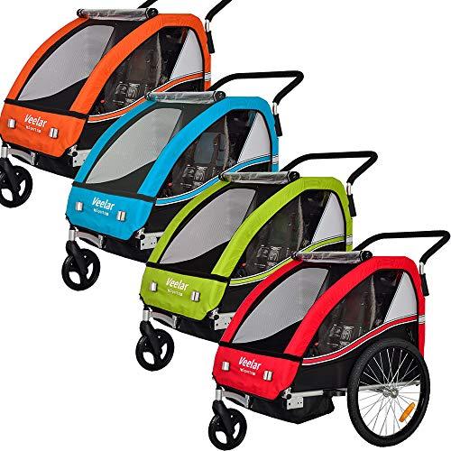 Veelar Sports 2 in 1 Kinderanhänger Fahrradanhänger Anhänger mit Buggy Set Jogger 50202-03 blau